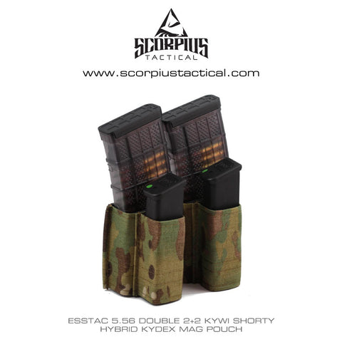 Esstac 5.56 Double Kangaroo 2+2 KYWI Shorty - Hybrid Kydex Mag Pouch