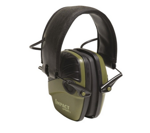 Howard Leight Impact Sport OD Electric Earmuff, Od Green