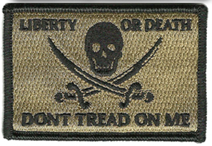 "Liberty Or Death Skull and Swords Calico Jack Don't Tread on Me - 2""x 3"""