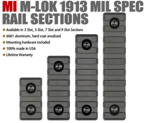 AR15 MI M-Lok 1913 Mil Spec Rail Sections 3 to 9 Slot - Midwest Industries