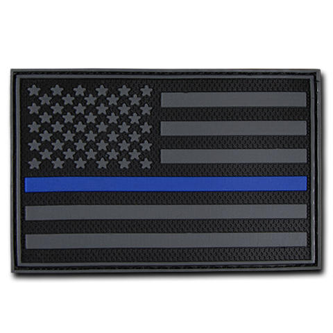 "Thin Blue Line PVC Patch - Police - Black 2""x 3"""