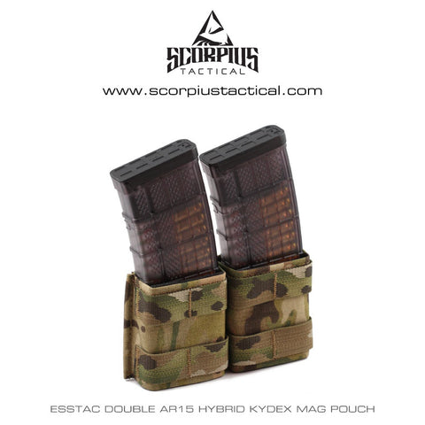Esstac 5.56 Double KYWI Shorty - Hybrid Kydex Mag Pouch With Outside Molle