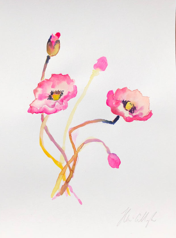 Pink poppies original watercolour