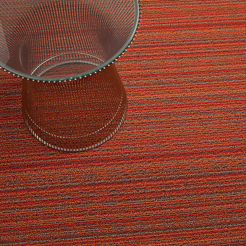 Skinny Stripe Shag Utility Rug in Orange