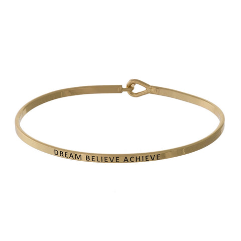 Dream, Believe, Achieve Gold Tone Bangle Bracelet
