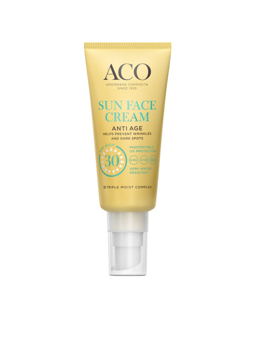 ACO SUN FACE CREAM ANTI AGE AURINKOSUOJAVOIDE KASVOILLE HAJUSTEETON 40 ML