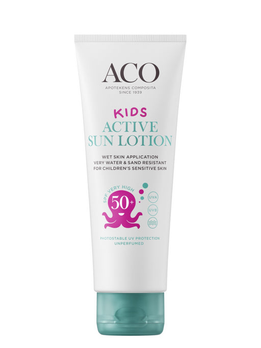 ACO SUN KIDS ACTIVE SUN LOTION SPF 50+ AURINKOVOIDE LAPSILLE HAJUSTEETON 125 ML