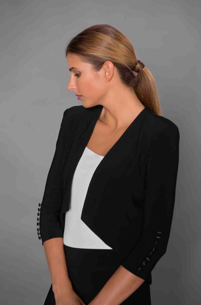 Joseph_Ribkoff_Cover_Up_Bolero_Jacket_High_Low_Black_Navy_www.zambezee.com.au