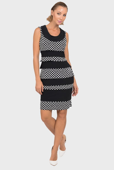 Joseph Ribkoff - Tiered Panel Shift Dress w/ Cowl