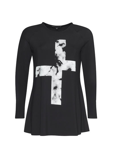 Paula Ryan - Marbled Cross Print Top