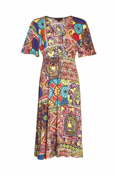 Paula Ryan - Circa Print Wrapover Soft Sleeve Dress