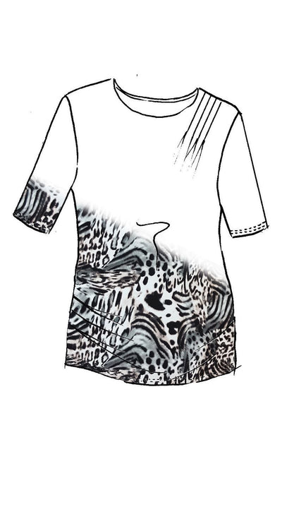 Paula Ryan - Aria Animal Print Side Rouched Half Sleeve Top