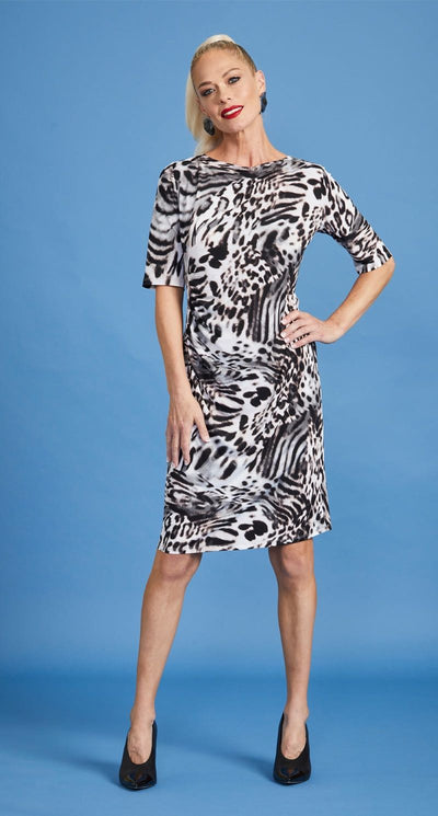 Paula Ryan - Aria Animal Print Side Rouched Half Sleeve Dress