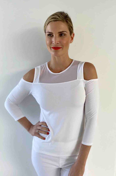 Paula Ryan - Cut Out Shoulder 3/4 Sleeve Top