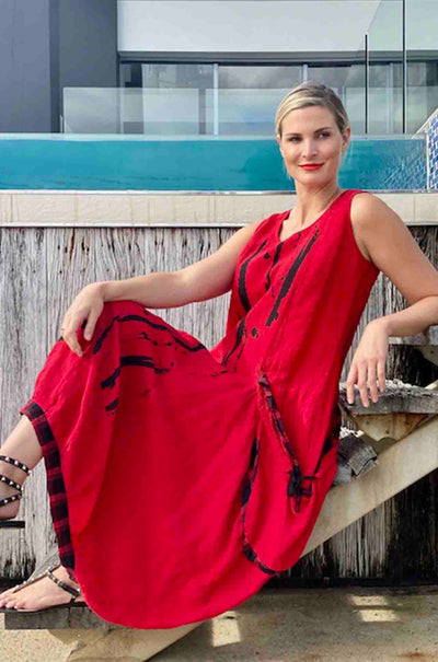 Mara_Gibbucci_Drawstring_Pocket_Dress_Red_www.zambezee.com.au