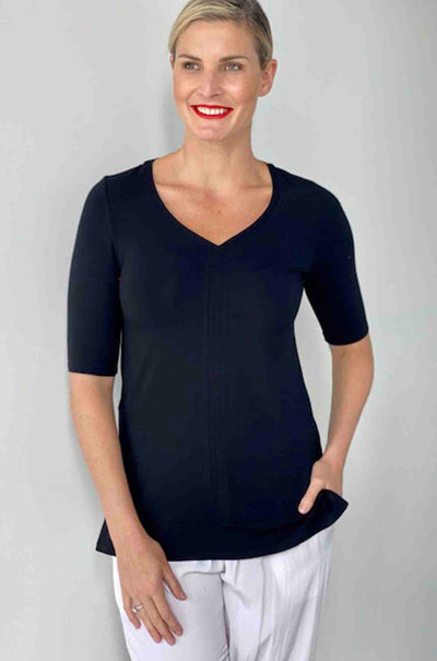 Paula_Ryan_EF_Vneck_Half_Sleeve_Top_Tshirt_Shirt_Black_Poppy_Red_www.zambezee.com.au