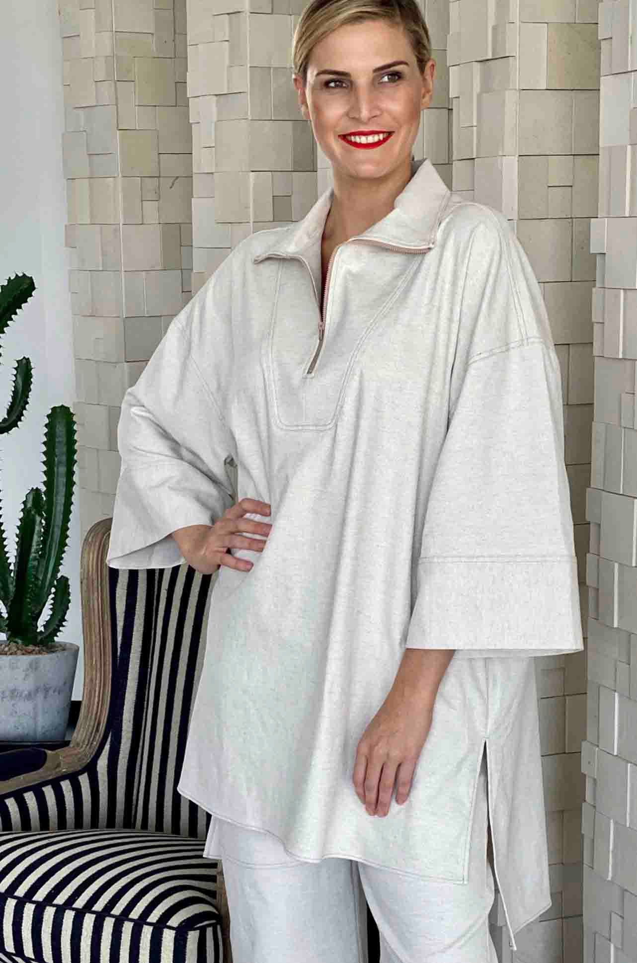 Mela Purdie - Funnel Tunic in Polished Canvas