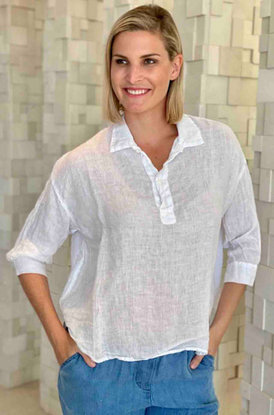 CP_Shades_Gigi_Collared_Three_Quarter_Sleeve_Top_Shirt_Blouse_White_www.zambezee.com.au