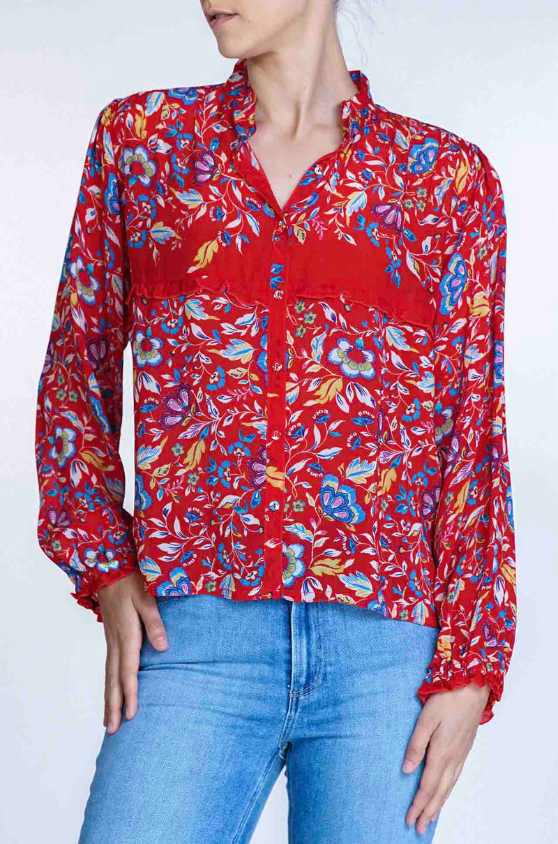 Johnny Was - Karla Button-Up in Red
