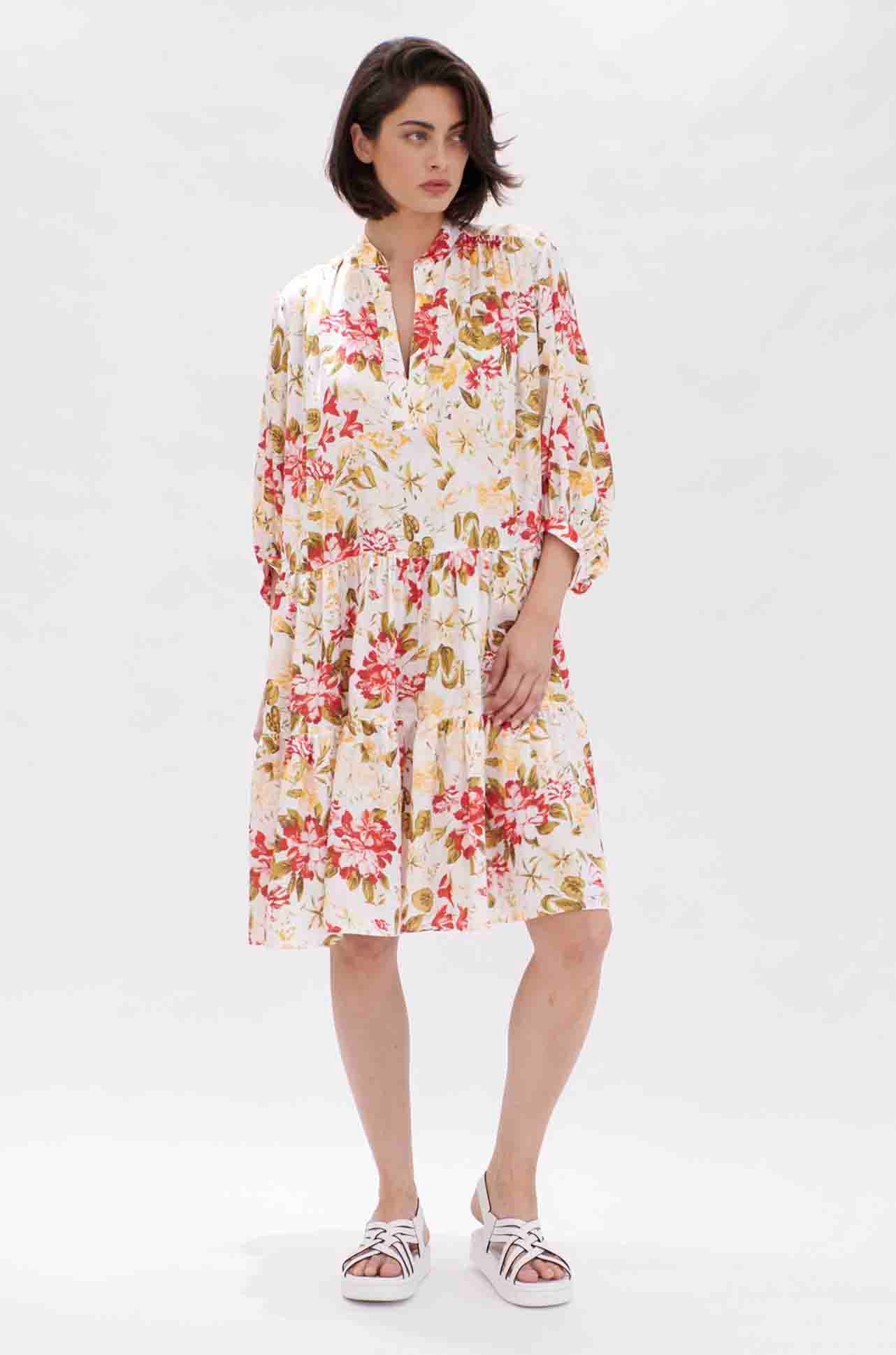 Mela Purdie - Moroccan Midi Dress in Hibiscus Print
