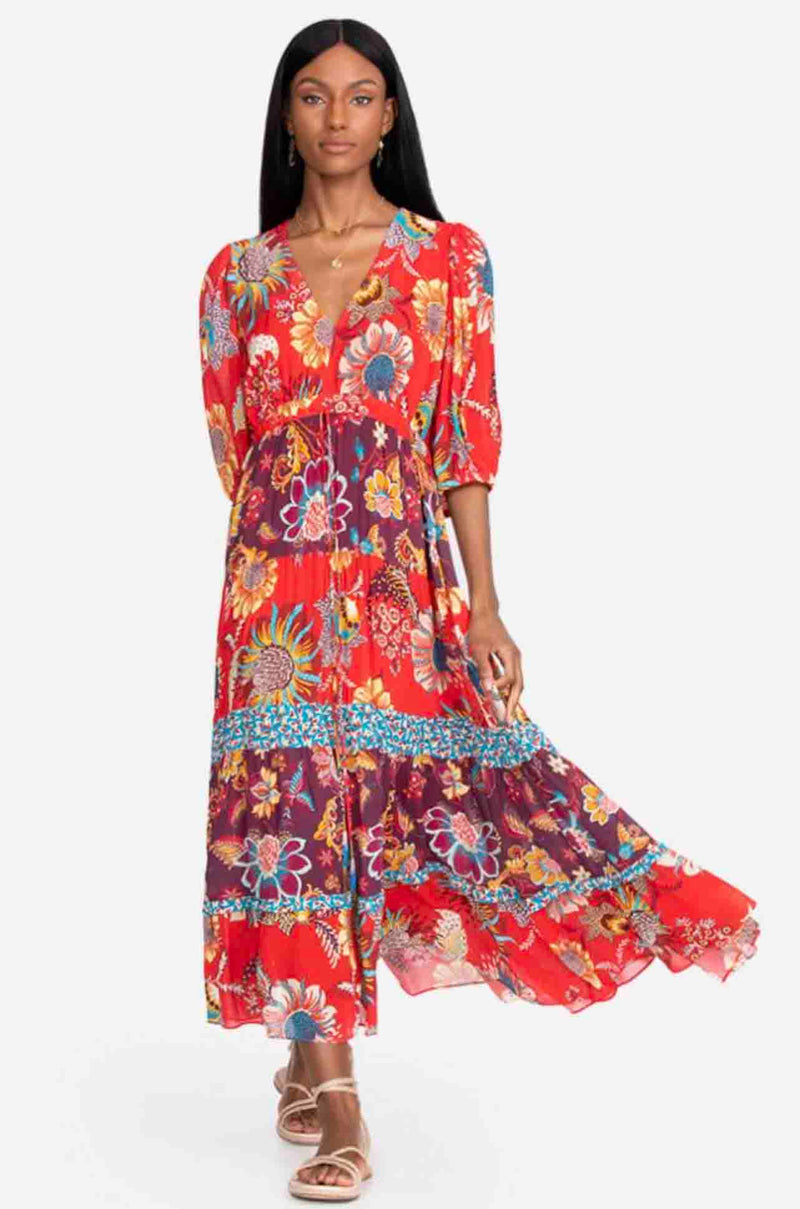 Johnny Was - Pecan Mixed Maxi Dress