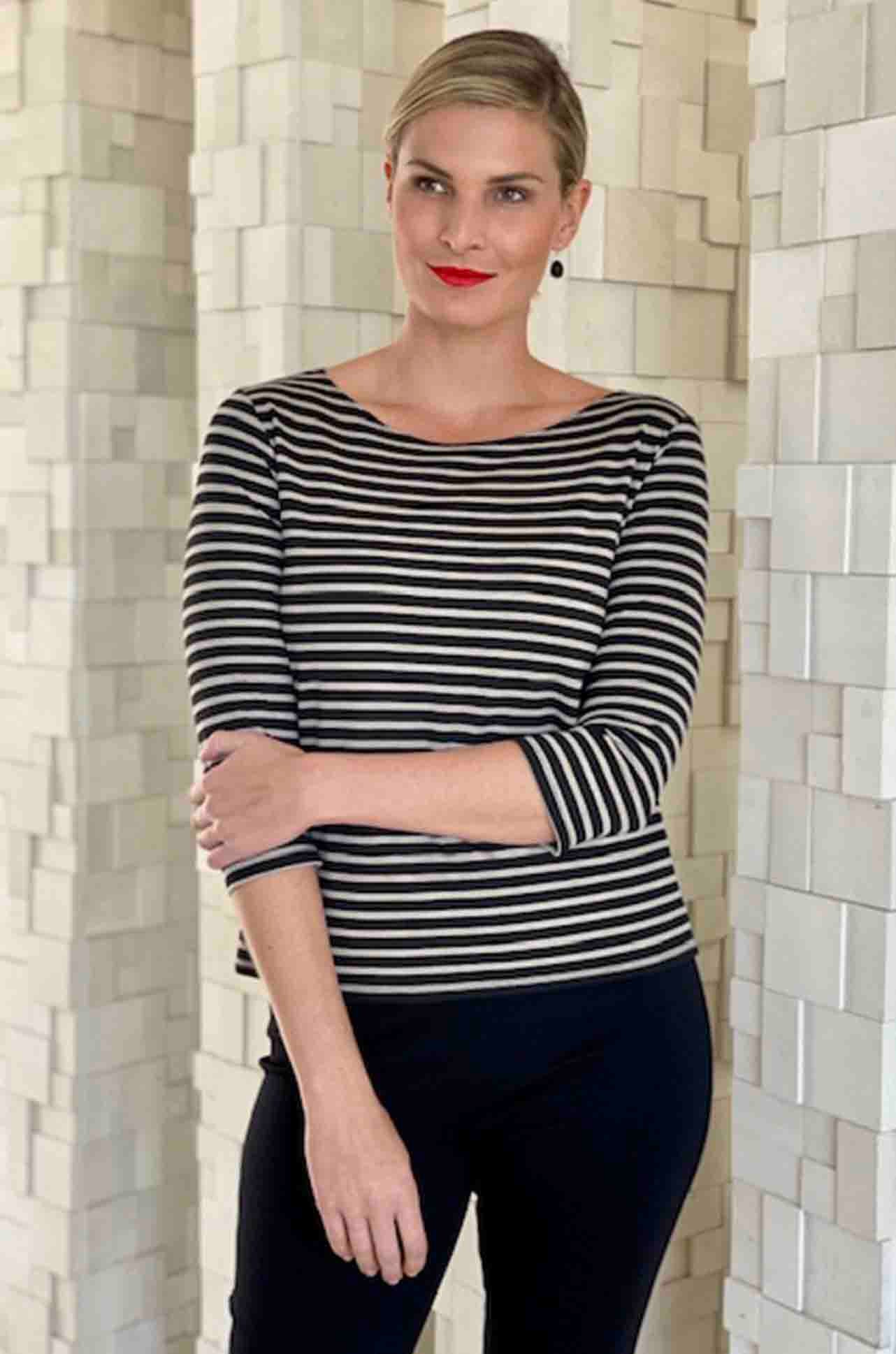 Mela Purdie - Relaxed Boat Neck in Compact Signature Stripe