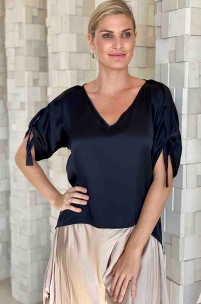 Lisa_Brown_V_Neck_Top_With_Ties_Blouse_Black_Silk_www.zambezee.com.au
