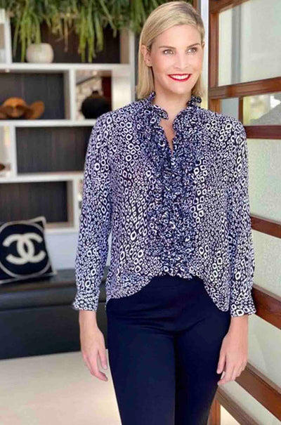 Mela_Purdie_Ruffled_Shirt_CatseyeSatin_Blouse_Top_Animal_www.zambezee.com.au