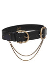 Camilla - Solid Black Double Croc Leather Belt