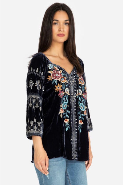 Johnny Was - Eleni Velvet Peasant Blouse