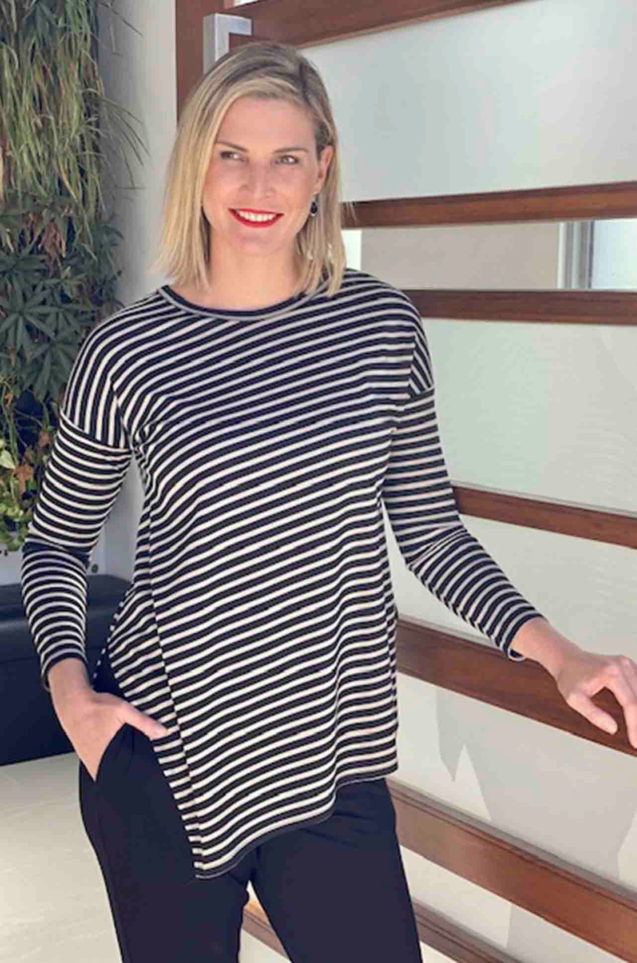 Mela Purdie - Slide On Sweater in Compact Signature Stripe