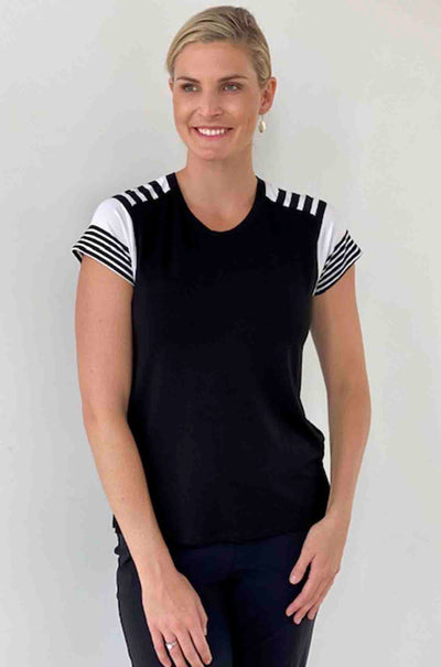 Paula_Ryan_Stripe_Sleeve_Top_TShirt_Black_White_www.zambezee.com.au
