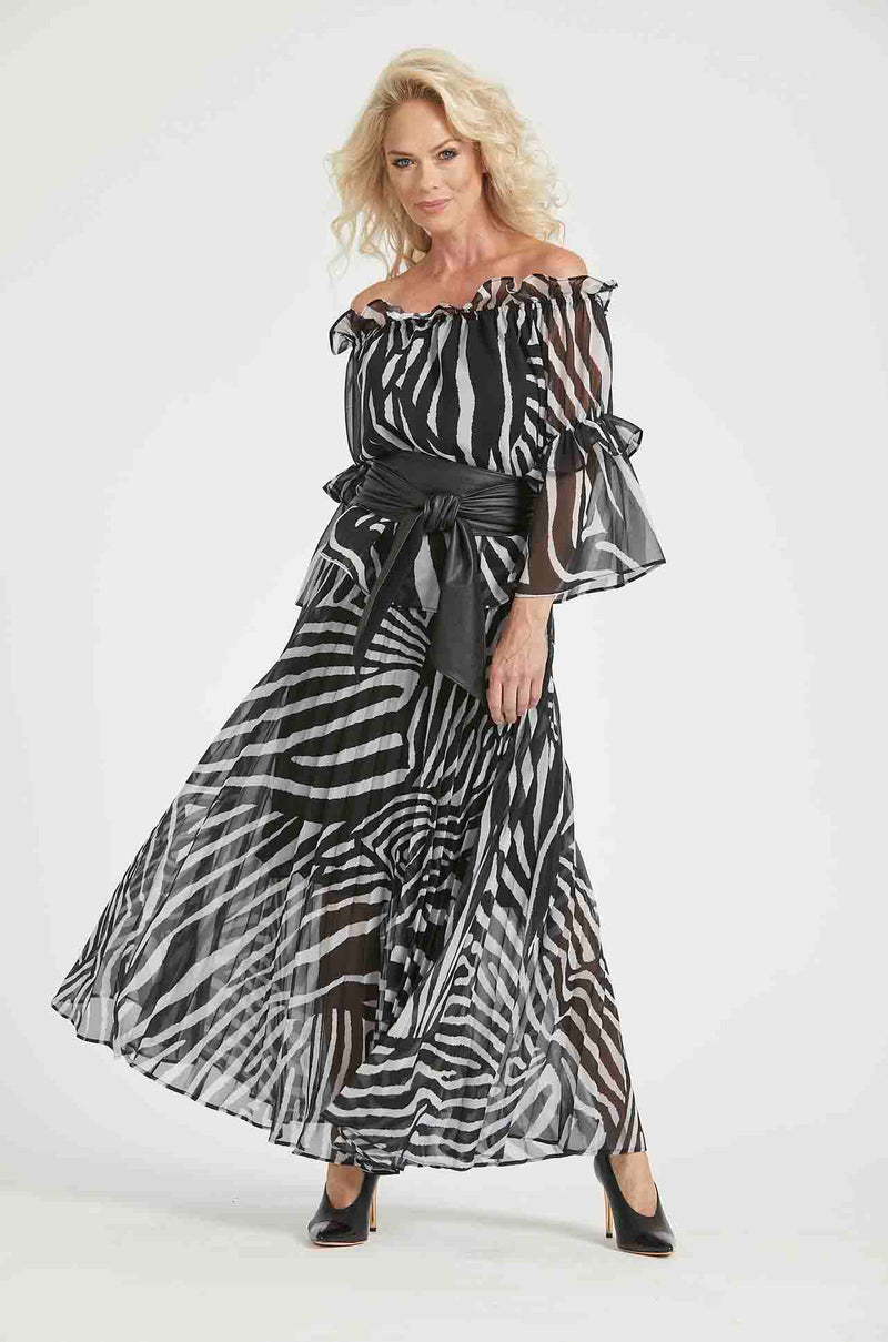 Paula_Ryan_Sunray_Pleated_Skirt_Long_Bottoms_Zebra_Chiffon_www.zambezee.com.au