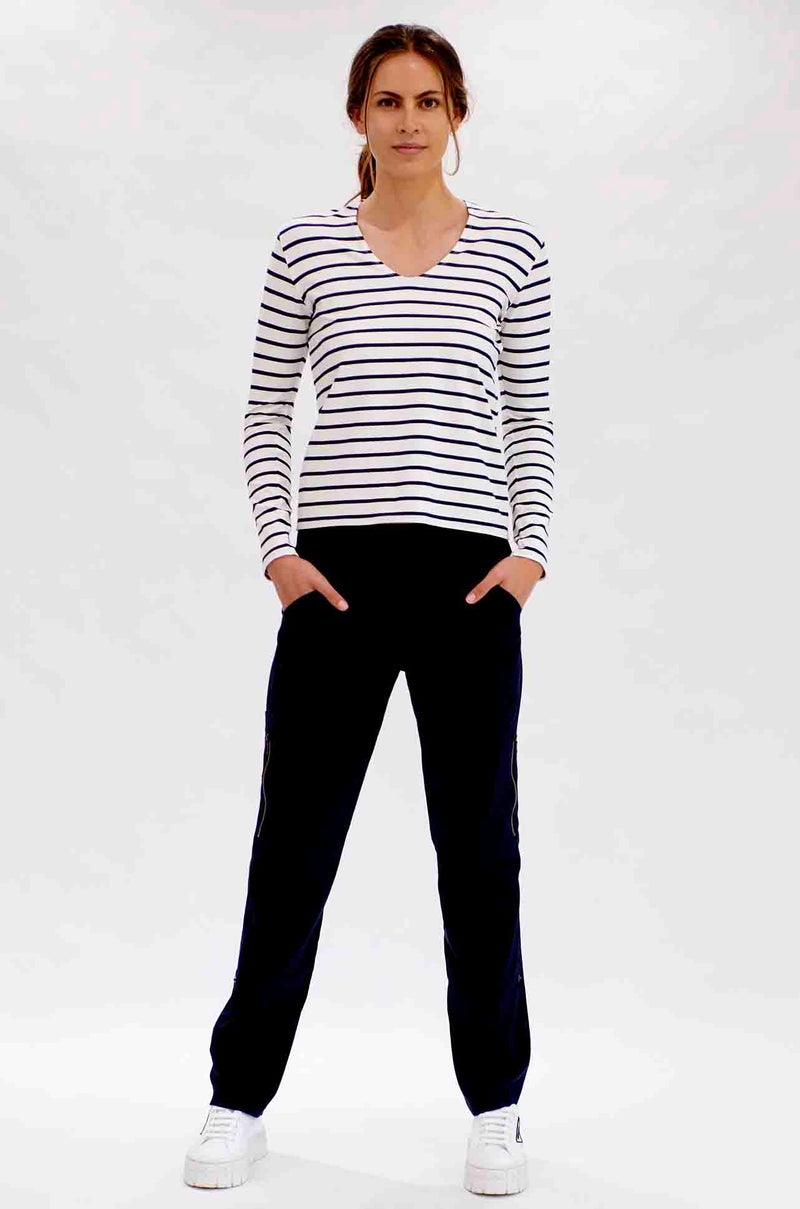 Mela Purdie - V Neck Top in Artisan Stripe