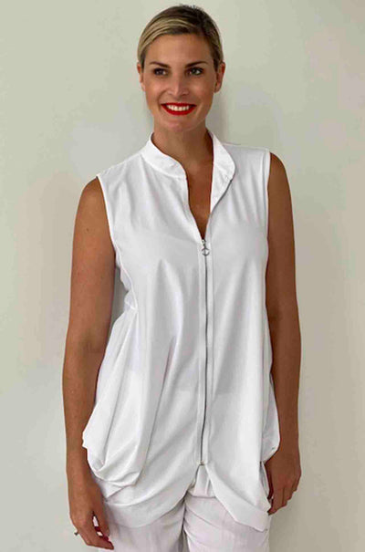 Paula_Ryan_Zip_Front_Sleeveless_Jacket_Top_Black_White_www.zambezee.com.au