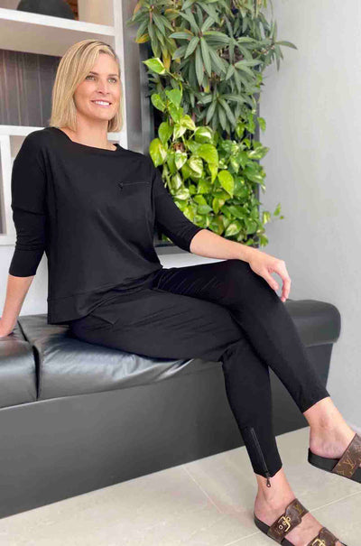 Mela_Purdie_Zip_Pocket_Crescent_Sweater_Top_Black_White_Rococo_www.zambezee.com.au