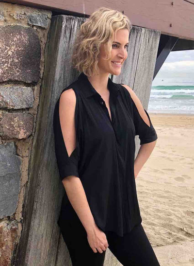 Mela_Purdie_Billowing_Shirt_Blouse_Top_Black_Navy_www.zambezee.com.au