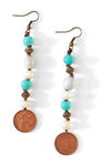 Mulberry Mongoose - Seed Turquoise Bronze Earrings