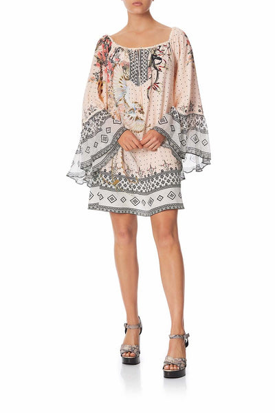 Camilla - Kindred Skies A-Line Dress w/ Ruffle Sleeve