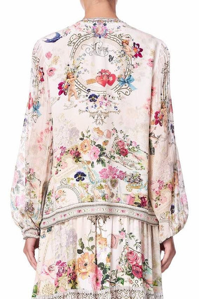 Camilla - Jardin Postcards Peasant Blouse w/ Front Lacing