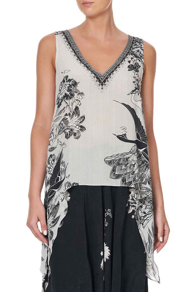 Camilla - Silver Linings Draped Side Top