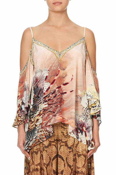 Camilla - Coastal Treasure Drop Shoulder Strappy Blouse
