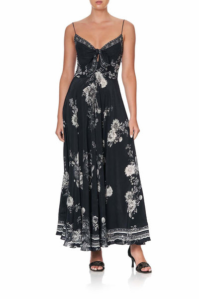 Camilla - Moonshine Bloom Long Dress w/ Tie Front