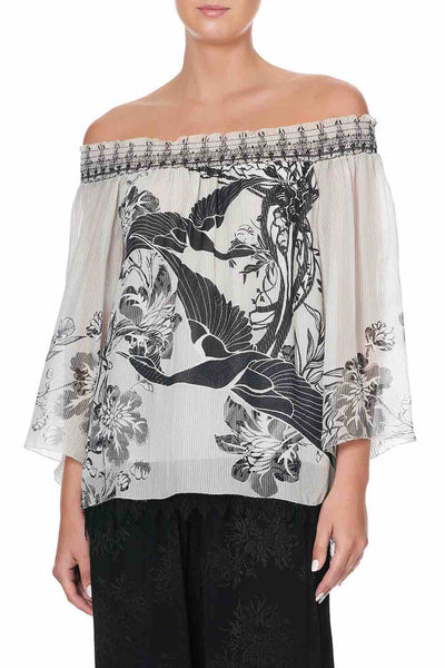 Camilla - Silver Linings Off Shoulder Shirred Blouse