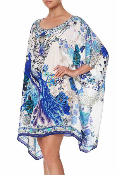 Camilla - White Side Of The Moon Short Round Neck Kaftan