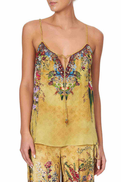 Camilla - Among The Gumtrees Strap Top w/ Tie Front Detail