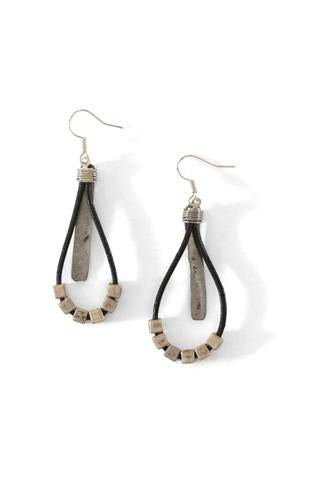 Mulberry Mongoose - Leather Hammered Snare Earrings in Black
