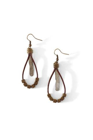 Mulberry Mongoose - Leather Hammered Snare Earrings in Chocolate Brown