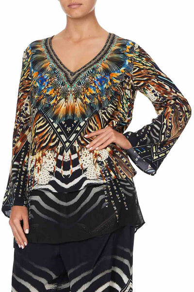 Camilla - Lost Paradise Blouse w/ Side Split
