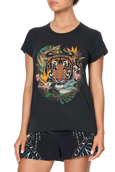Camilla - Lost Paradise Curved Hem Fitted Tee